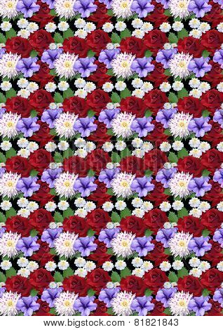 Motley seamless background with roses dahlias asters