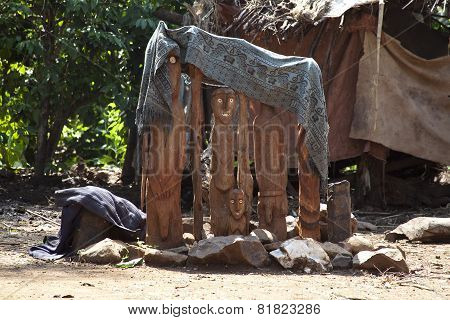 Waga, A Traditional Memorial Statue Of Ethiopia.