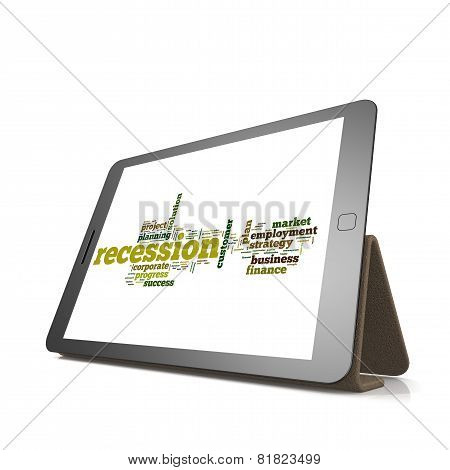 Recession Word Cloud On Tablet