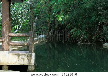 a stone pier on the river