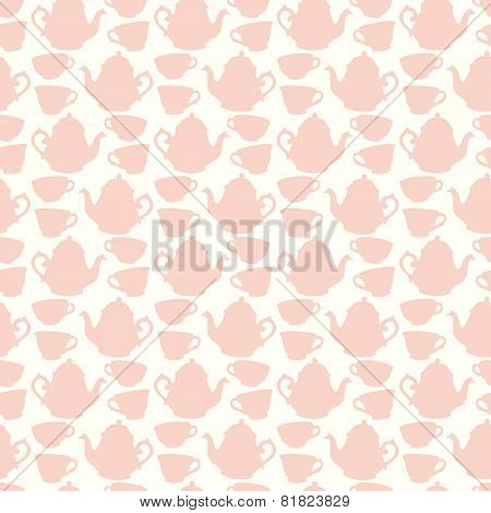 Seamless pattern with decorative cups and teapots