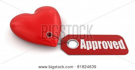 Heart with label Approved (clipping path included)