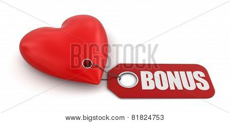 Heart with label Bonus (clipping path included)