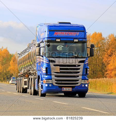 Blue Scania R440 Tank Truck On Autumn Highway