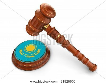 Wooden Mallet and Kazakh flag (clipping path included)