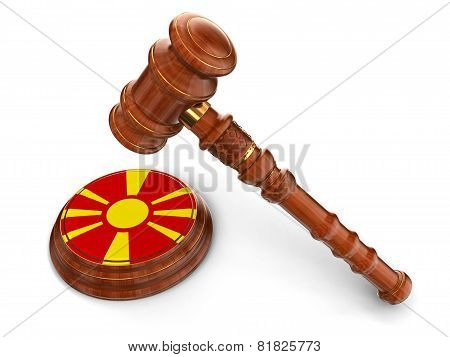 Wooden Mallet and Macedonian flag (clipping path included)