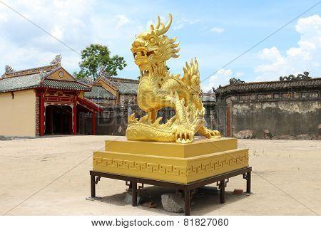 Golden dragon statue in Vietnam, Hue Citadel