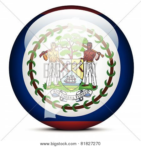 Map On Flag Button Of Belize