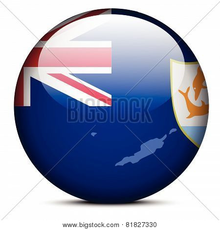 Illustration Of  Map On Flag Button Of Anguilla