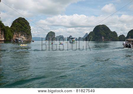 Phang Nga Bay,Th-Sept,20 2014:Limestone cliffs in Phang Nga Bay, Andaman Sea, Thailand