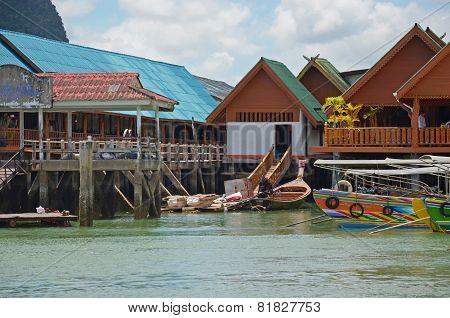 Phang Nga Bay,Th-Sept,20 2014:Housing on piles ib the Sea Gypsy Village Koh Panyee in Andaman Sea,TH