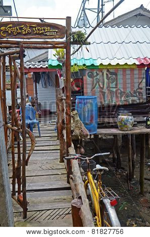 Phang Nga Bay,Th-Sept,20 2014:Housing on piles in the Sea Gypsy Village Koh Panyee in Andaman Sea,TH