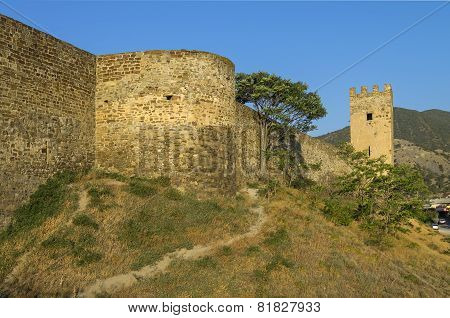 Genoese Fortress In Sudak, Crimea. The Base Of A Round Tower.