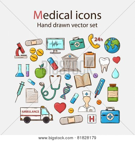 Vector Medical doddle icon set