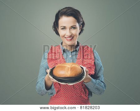 Vintage Housewife Holding An Homemade Cake