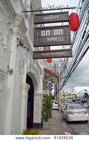 Phuket Town,TH-Sept,22 2014: Hotel On-On in the old town in Phuket, Thailand