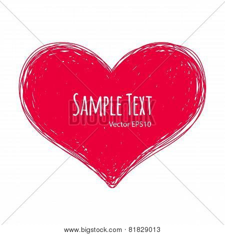 Pink Doodle Heart On White Background