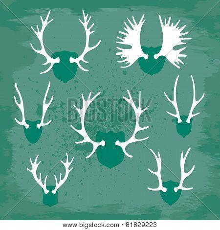 Set horns silhouettes for design