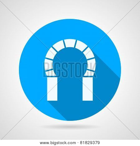 Flat round icon for brick horseshoe arch