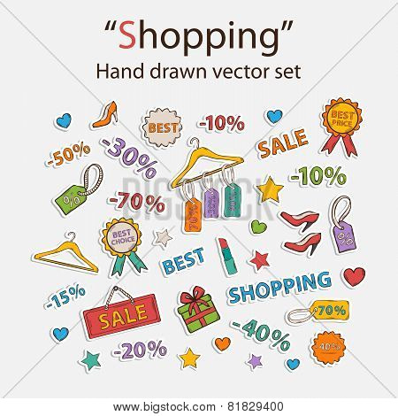 Vector shopping set.