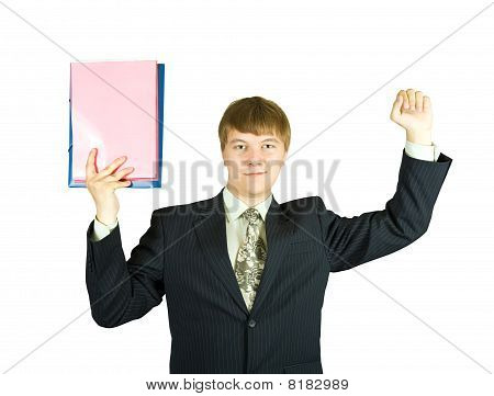 Happy Businessman With Documents