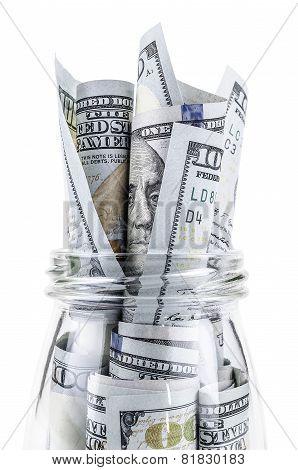Dollars in a glass jar
