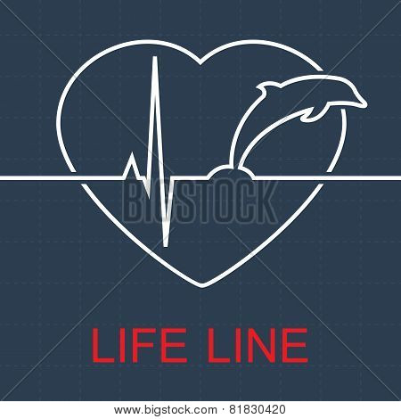Vector life line dolphin and pulse in heart