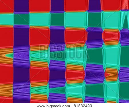 abstract waves with purle, orange, green and brown colors