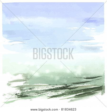 Watercolor abstract landscape, hand drawn illustration