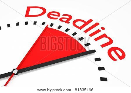 Clock With Red Seconds Hand Area Deadline Illustration