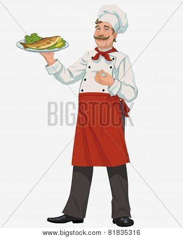 chef with cooked fish