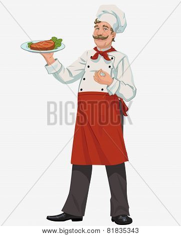 chef with cooked grill steak
