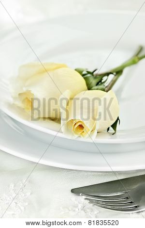 Roses And Place Setting
