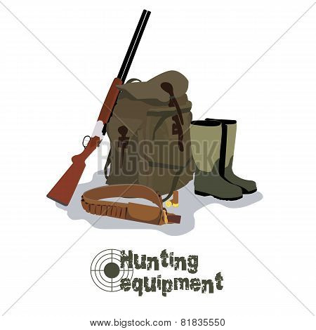 Set of military hunting equipment with rifle