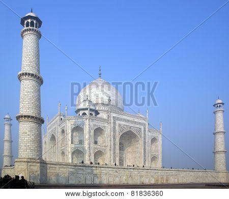 Taj Mahal  white Marble mausoleum.
