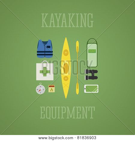 Kayaking equipment icons set. Kayak illustration on a multicolor design. With tent, compass, mobile