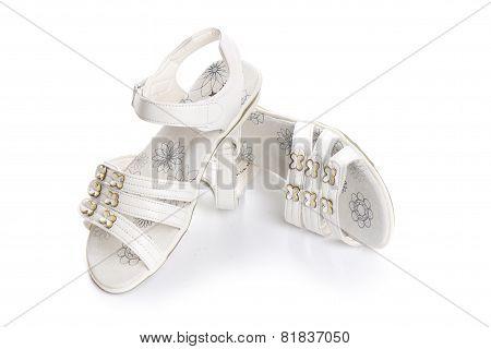 Dressy Sandals For Girls. Isolate On White.