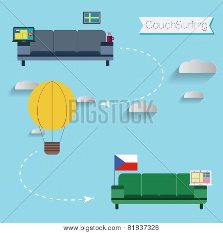 Couch surfing concept. Share your sofa.