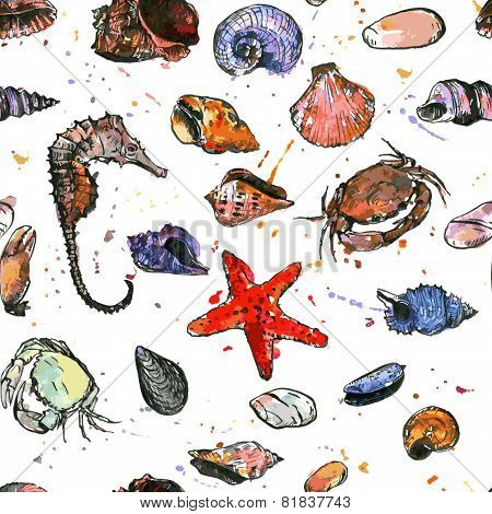 seamless pattern with drawing shells