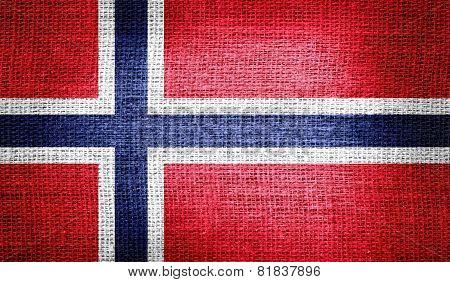 Norway flag on burlap fabric