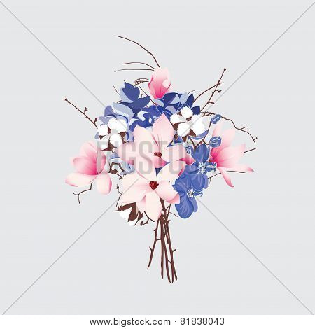 French style seamless vector bouquet