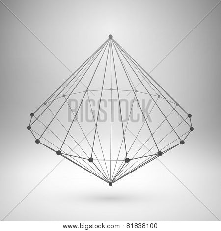 Wireframe mesh polygonal cone.