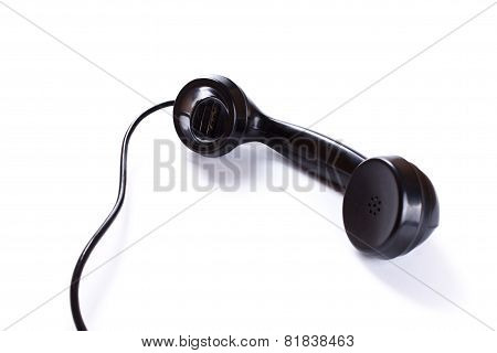Black Telephone Receiver On White Background