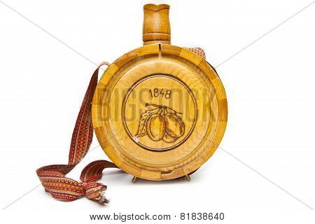 Old Wooden Bottle Isolated On White