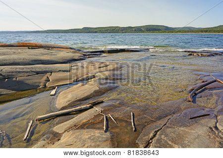 Driftwood And Rocks On A Remote Shore