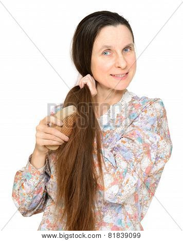 Adult Woman Brushing Hair