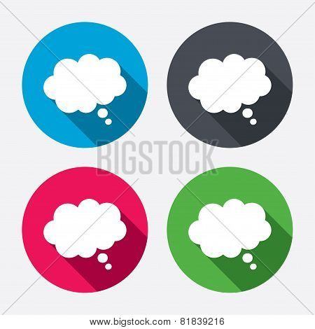 Comic speech bubble sign icon. Chat think symbol