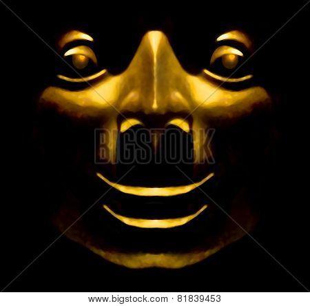 Golden Face Sculpture Happy Expression