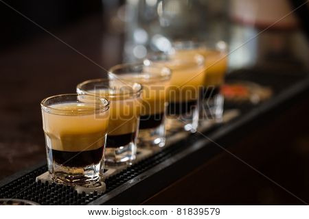 Shots With Rum And Liquor In Cocktail Club
