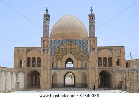 Exterior of the Agha Bozog mosque in Kashan, Iran.